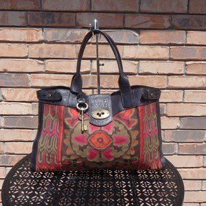 Fossil Vintage Reissue Embroidered Weekender Tote